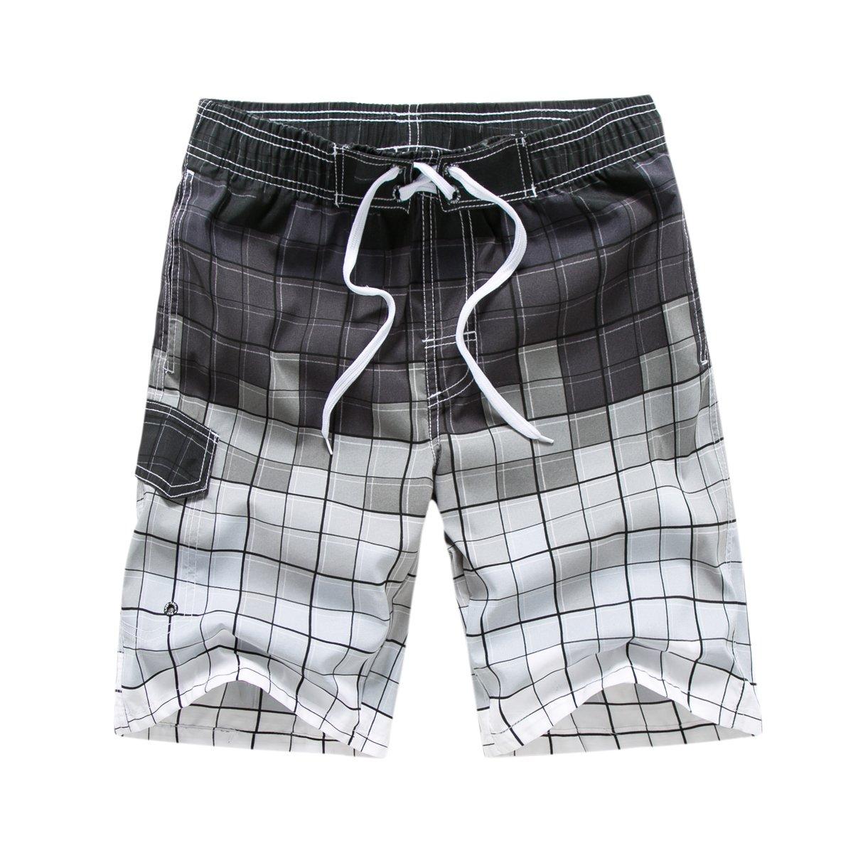 Dfrei Hombre Manner cuadrícula Patrón Secado Rápido Bañador Beachs Pantalones Cortos Bañador Verano Playa