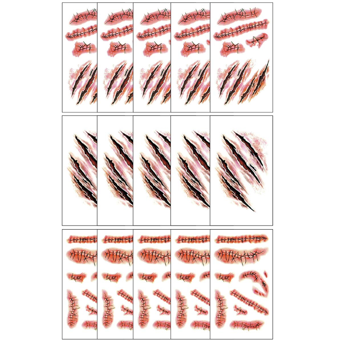 Fake Bloody Wound,Horror Realistic Stitch Scar Scab,Waterproof Temporary Tattoos Sticker for Halloween Masquerade, Prank Makeup Props,Party Costume