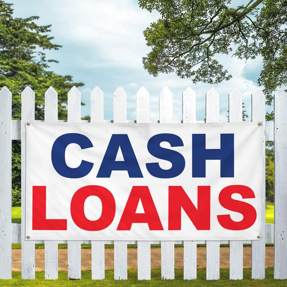 Vinyl Banner Multiple Sizes Cash Loans Blue Red A Business Outdoor Weatherproof Industrial Yard Signs 10 Grommets 60x144Inches