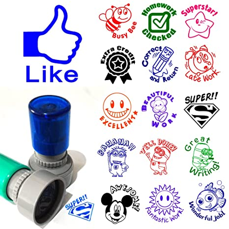 Set Of 3 Teacher Stamp You Pick Image Color Homework Praise School Self Inking Round Rubber