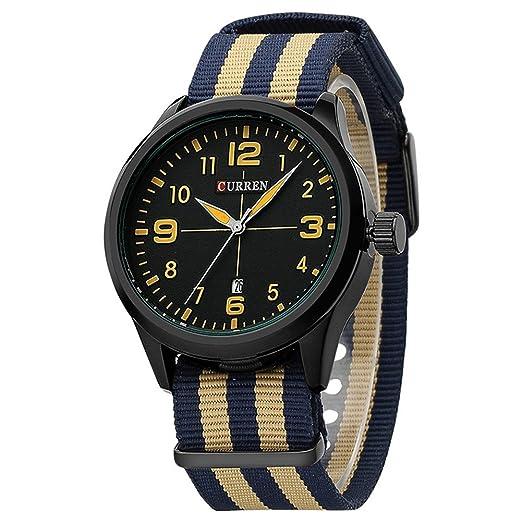 Relojes de pulsera impermeables de los hombres negros del dial con la correa de la lona de la tela de ColorfulNylon Nato/deportes/ocasional/estilo simple ...