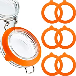 8 Pieces Silicone Jar Gaskets Replacement Silicone Seals Airtight Silicone Gasket Sealing Rings for Regular Mouth Canning Jar, 3.75 Inches (Orange)
