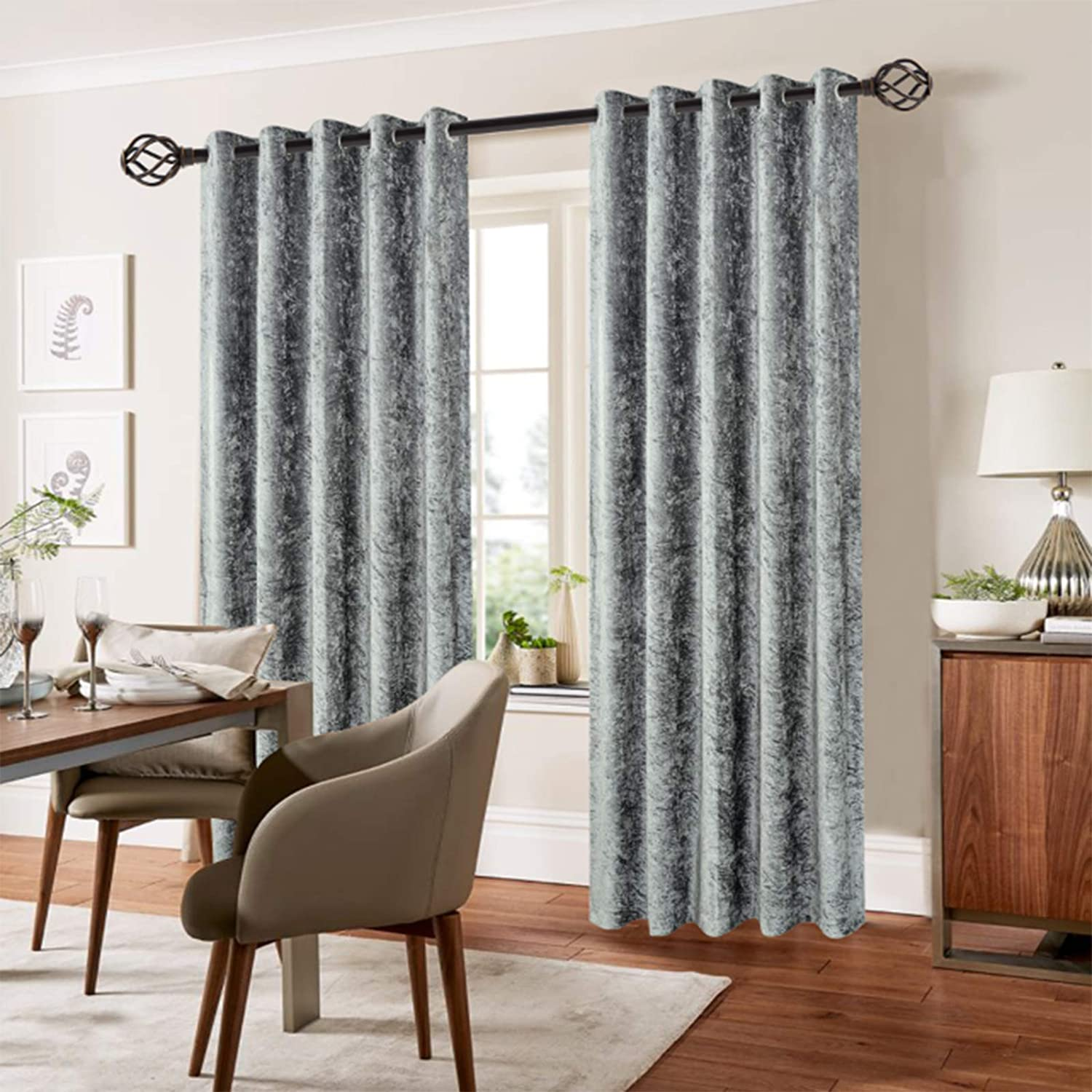 Bliss Home Living CRUSHED VELVET CURTAIN READYMADE FULLY LINED EYELET RING TOP HEADER CURTAINS (Natural, 46
