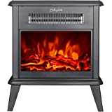 HollyHOME Free Standing Electric Fireplace with 2 Infrared Tube, Firebox Heater with LED Flame Effect, 17''