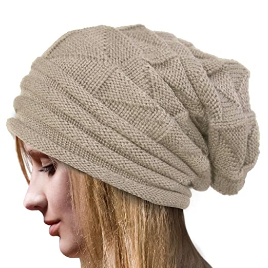 0f4437c45d0 Image Unavailable. Image not available for. Color  Knit Men s Women s Baggy  Beanie Oversize Winter Hat Ski Slouchy Chic Cap Skull