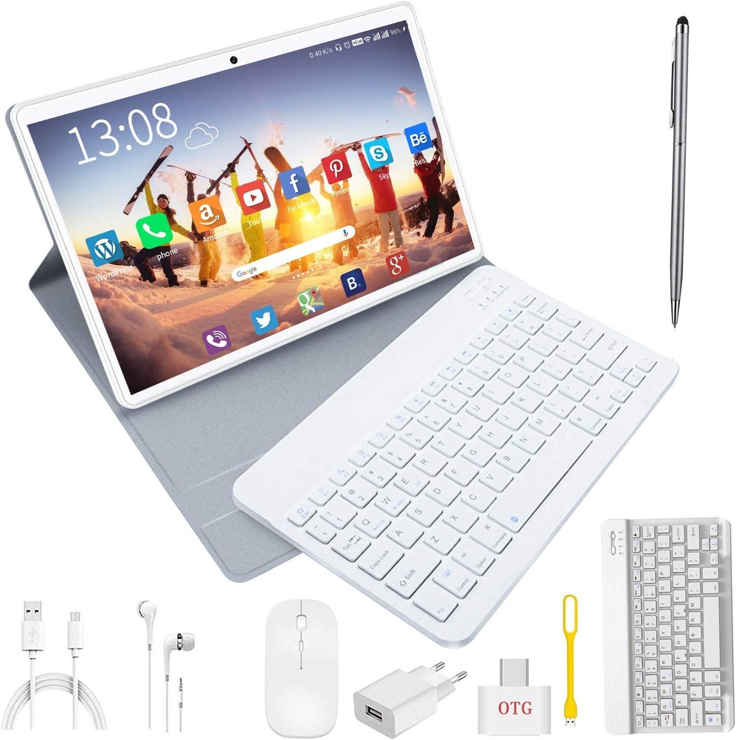 Tablet 10 Pulgadas 4G/wifi Android 9.0 Pie Ultrar-Rápido Tablets 4GB RAM + 64GB ROM/256GB Escalable | Laptop convertible de oficina | Dual SIM - 8000mA Bluetooth GPS Type-C Tablet (5+8.0MP Cámara) Oro