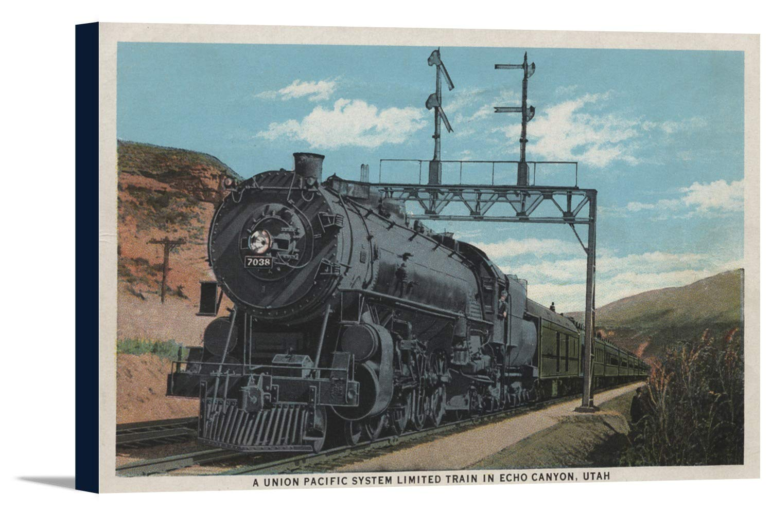 Union Pacificトレイン、Echo Canyon , Utah 36 x 22 1/2 Gallery Canvas LANT-3P-SC-7317-24x36 36 x 22 1/2 Gallery Canvas  B0184A1K6K
