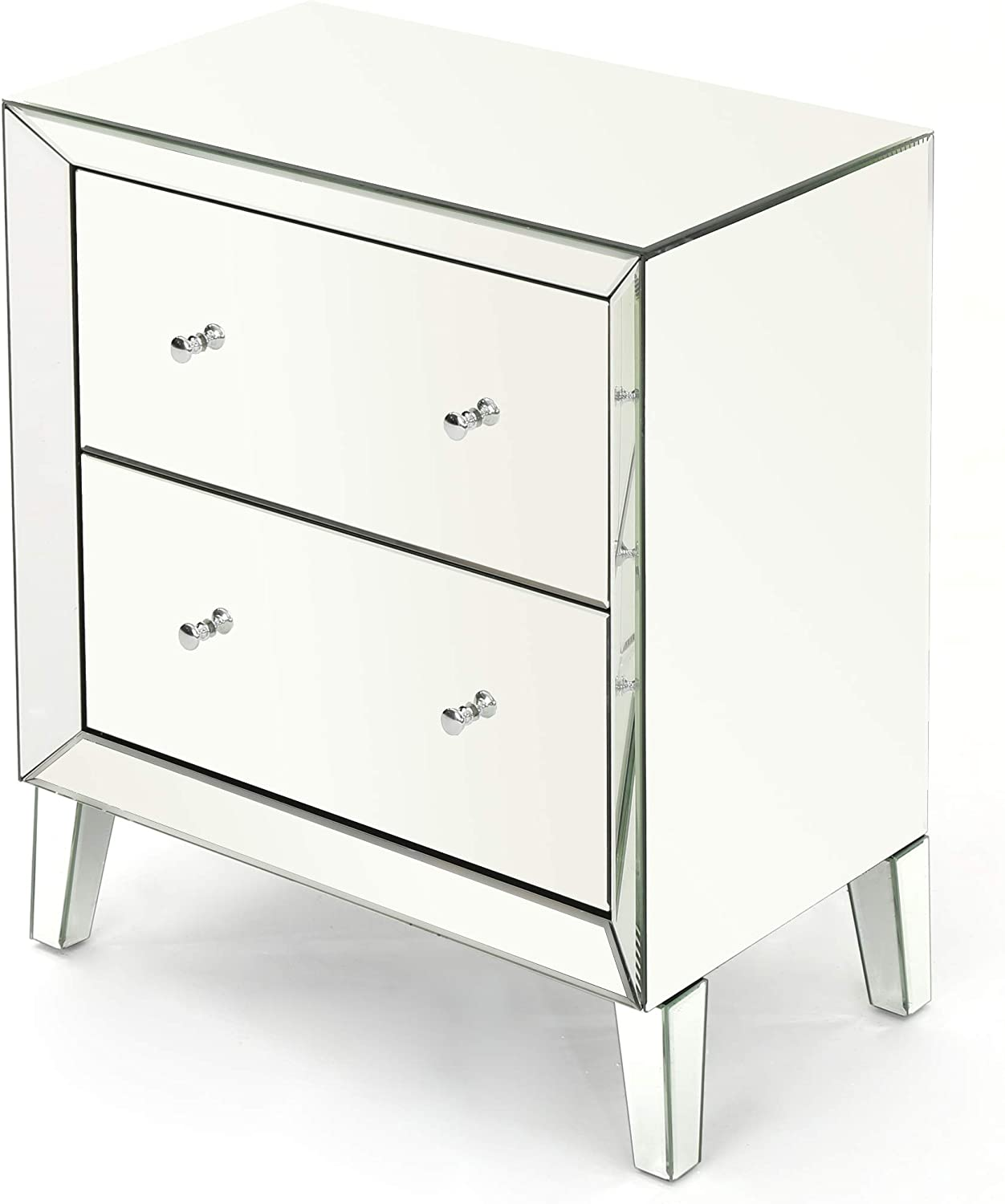 Christopher Knight Home Jeremye Mirrored 2-Drawer Cabinet with Faux Wood Frame, Silver Finished