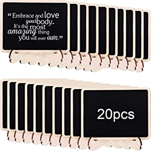 20 Pack Mini Chalkboard Sign with Easel Stand, ULENDIS Wooden Small Rectangle Chalkboards Labels, Reusable Chalk Board Blackboard for Food Tags Table Numbers Weddings Parties and Event Decorations