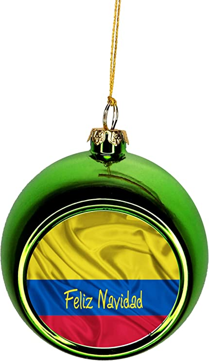 Amazon Com Lea Elliot Inc Flag Colombia Feliz Navidad Colombian Flag Bauble Christmas Ornaments Green Bauble Tree Xmas Balls Home Kitchen