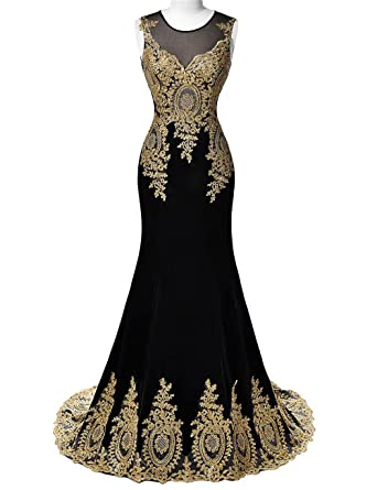Dannifore Illusion Neck Gold Lace Appliques Mermaid Long Prom Evening Formal Dresses Black Size 2