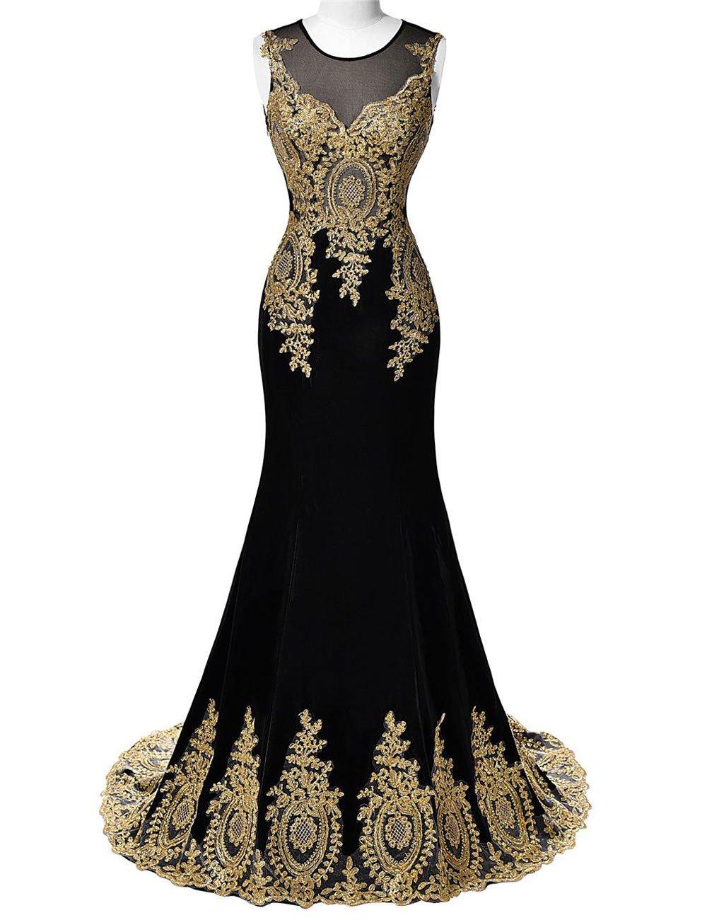DYS Women's Lace Appliques Mermaid Prom Evening Formal Dresses Illusion Neck Black US 12