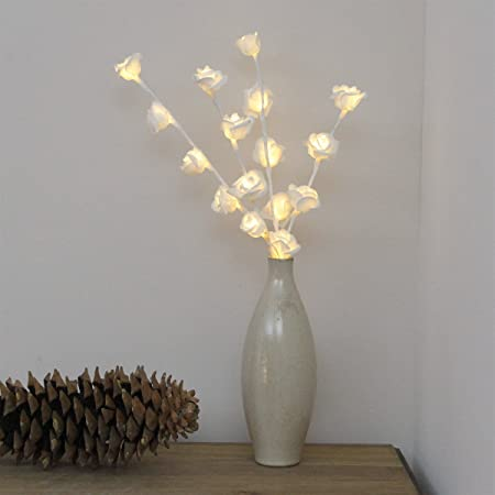 45cm Tall Pre Lit White Rose Twig Lights With 16 Warm White Leds And