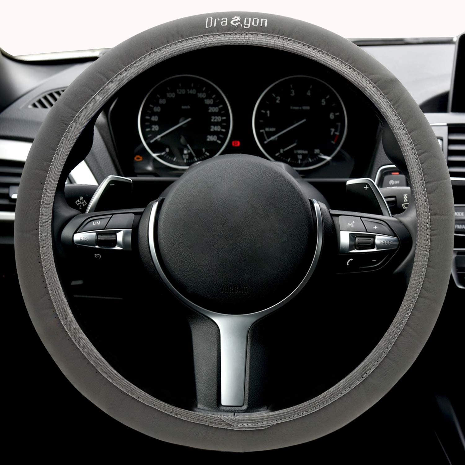 Gray Cloth Steering Wheel Cover,Universal 15 inch Steering Wheel,with Dragon Totem,Anti-Slip,Breathable,Comfortable Touch,Warm in Winter with Nice Package