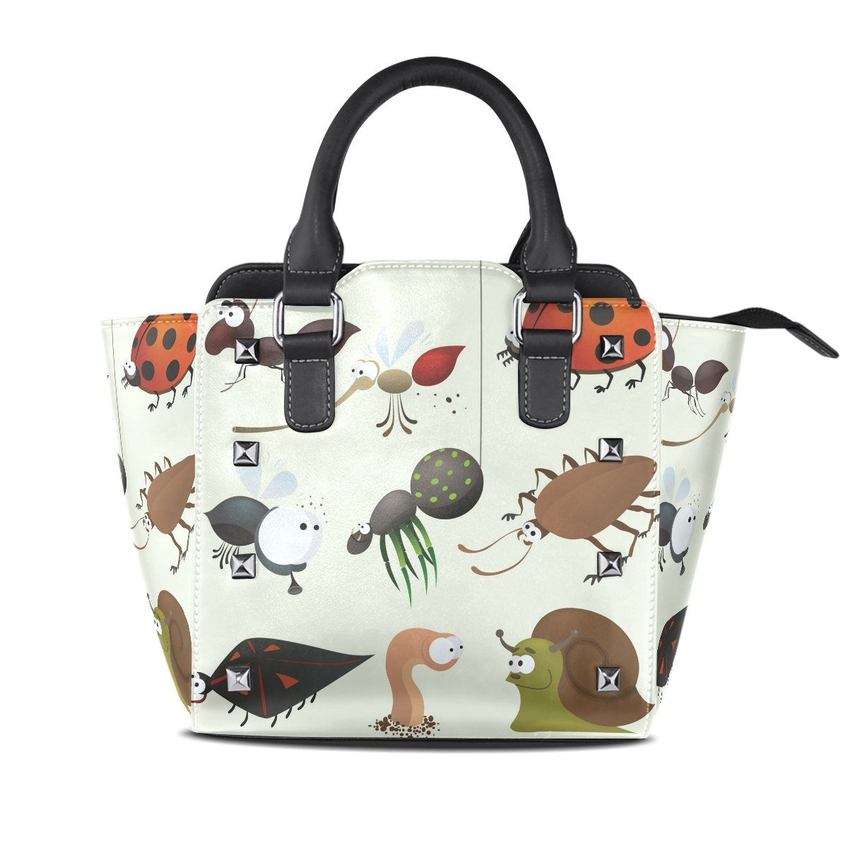 Womens Genuine Leather Hangbags Tote Bags Insects Purse Shoulder Bags