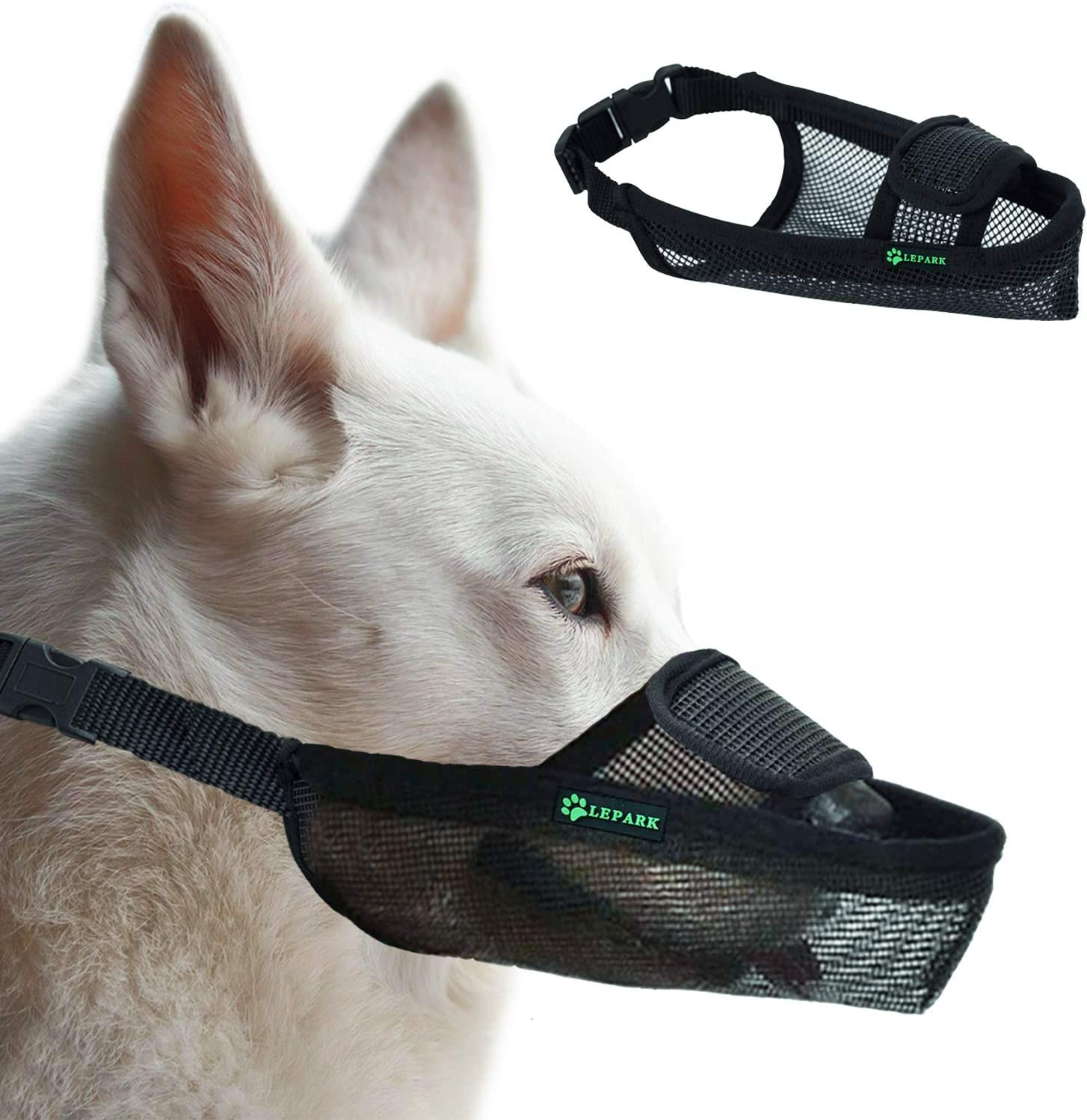ILEPARK Bozal para Perros De Malla con Velcro para Perros Pequeños, Medianos Y Grandes, Transpirable Y Ajustable, Evitar Morder. (XS, Negro)