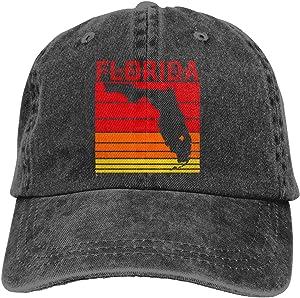LOUIS ROBSON Unisex Retro Florida Washed Cotton Denim Baseball Cap Vintage Adjustable Dad Hat for Men Women