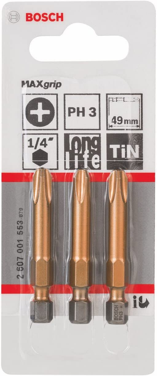 49mm Longueur PH1 Epaisseur 3 Pi/èces Jeu de Embouts de Vissage Max Grip pour Vis Cruciformes