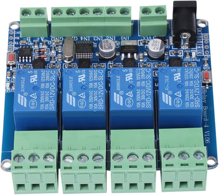 1 st/ück DC 12 V RS485 4 Kanal Relaismodul Relaisplatine Microcontroller Kommunikation mit Optokoppler Schutz STM8S103F3