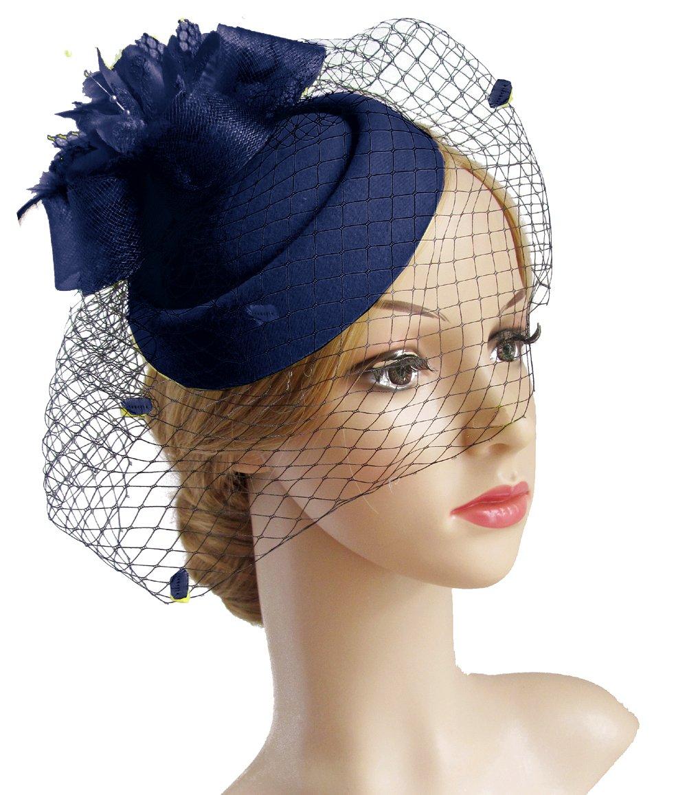 K.CLASSIC Fascinator Hair Clip Pillbox Hat Bowler Feather Flower Veil Wedding Party Hat (Navy)