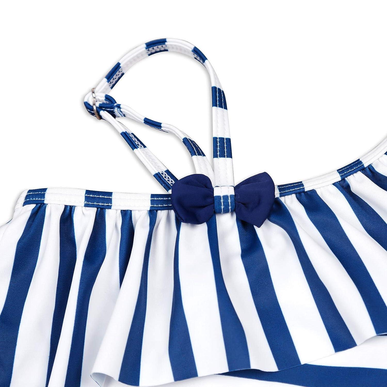 Yaffi Mother and Girl Matching One Piece Swimsuit Ruffles Blue Striped Single Shoulder Monokini Beach Bathing Suits