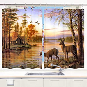 DYNH Elk Kitchen Curtain Animals Theme, Deer Safair in Stream River at Forest Sunset Window Curtain Panels, Waterproof Kitchen Curtains Drapes 10PCS Hooks 55X39 in Valance