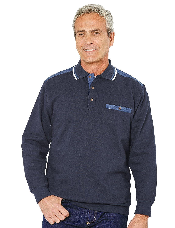Mens Long Sleeve Polo Collar Sweatshirt Chums