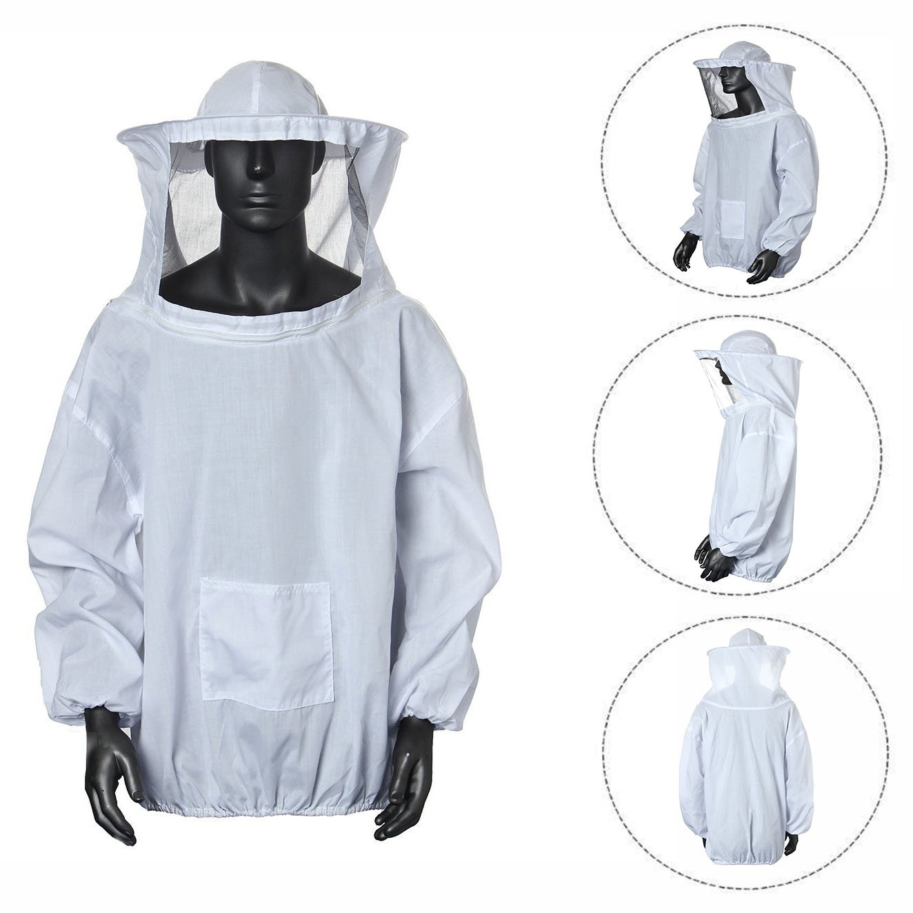 Cisixin Protective Bee Keeping Suit, Jacket, Pull Over, Smock with a Veil
