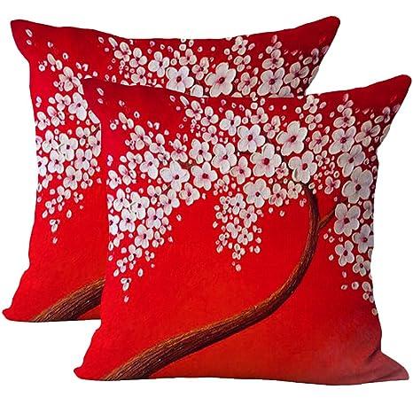 JOTOM suave pintura al óleo de lino de algodón grande árbol y flor funda de cojín de flores Funda de cojín de flores para el sofá decorativo casero ...