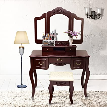 Amazon.com: Blongang Vanity Table Set, Tri-folding Mirror 5 Large ...
