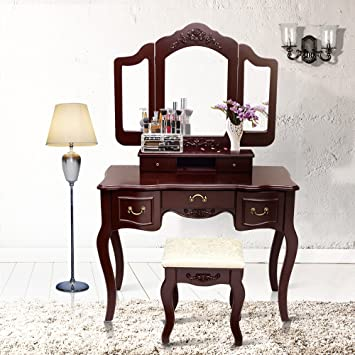 Elegant Blongang Vanity Makeup Table Set Tri Folding Mirror Vanity Set With Stool 5  Drawers Bedroom