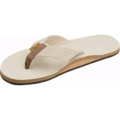 91de641c6 Rainbow Sandals Men's Hemp Single Layer Wide Strap with Arch, Natural, Men's  Small /