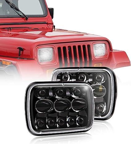 2 PCS 5x7 7x6 Inch LED Headlights Sealed Beam Headlamp for For Jeep Wrangler YJ Cherokee XJ Comanche MJ GMC Savana Safari Ford Chevrolet Toyota Replacement H6054 H5054 H6054LL 69822 6052 6053