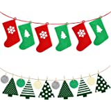 Felt Christmas Tree and Stockings Shaped Hanging Banner, 2 Pack