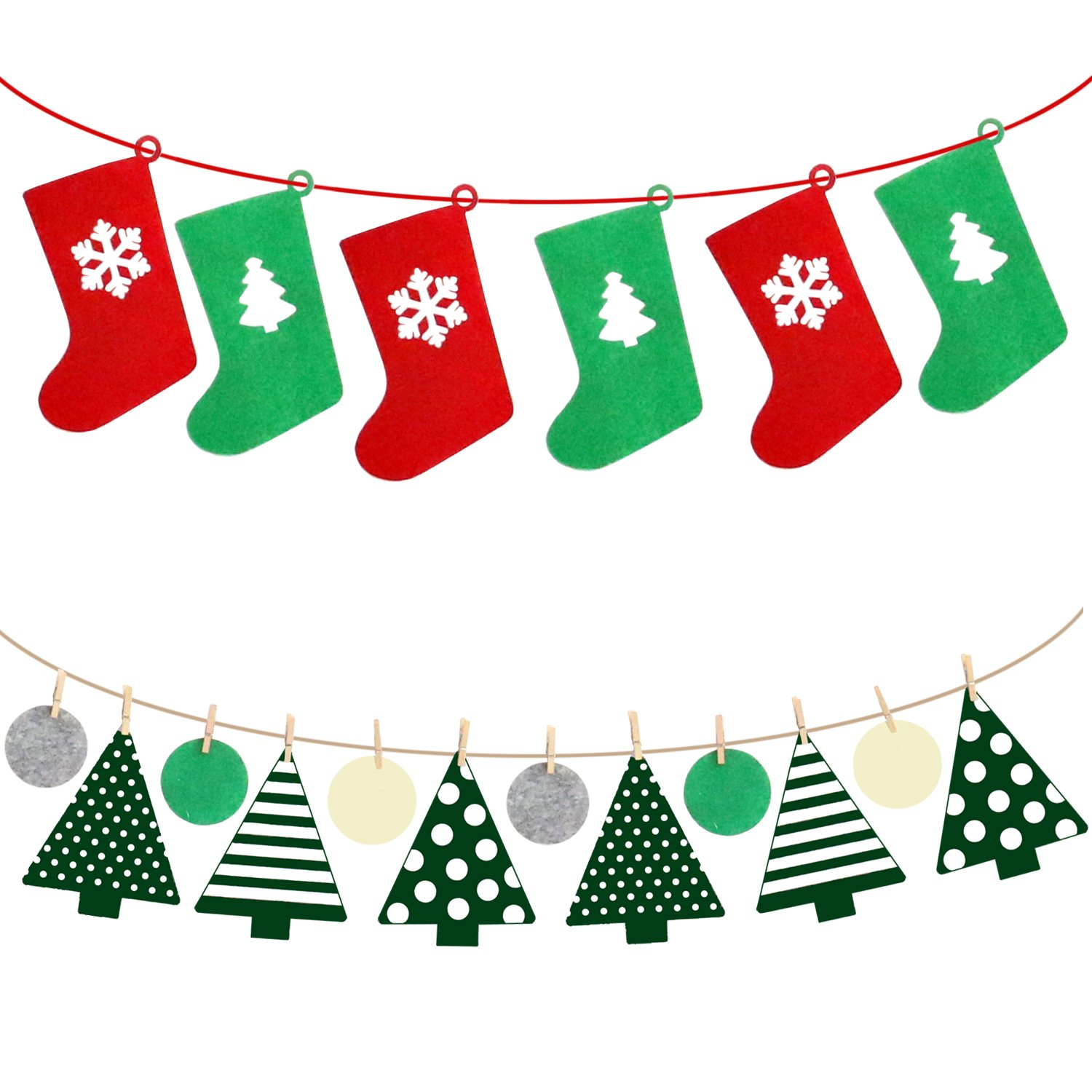 Amazon.com: Christmas Decorations Xmas Party Ornaments Bunting ...