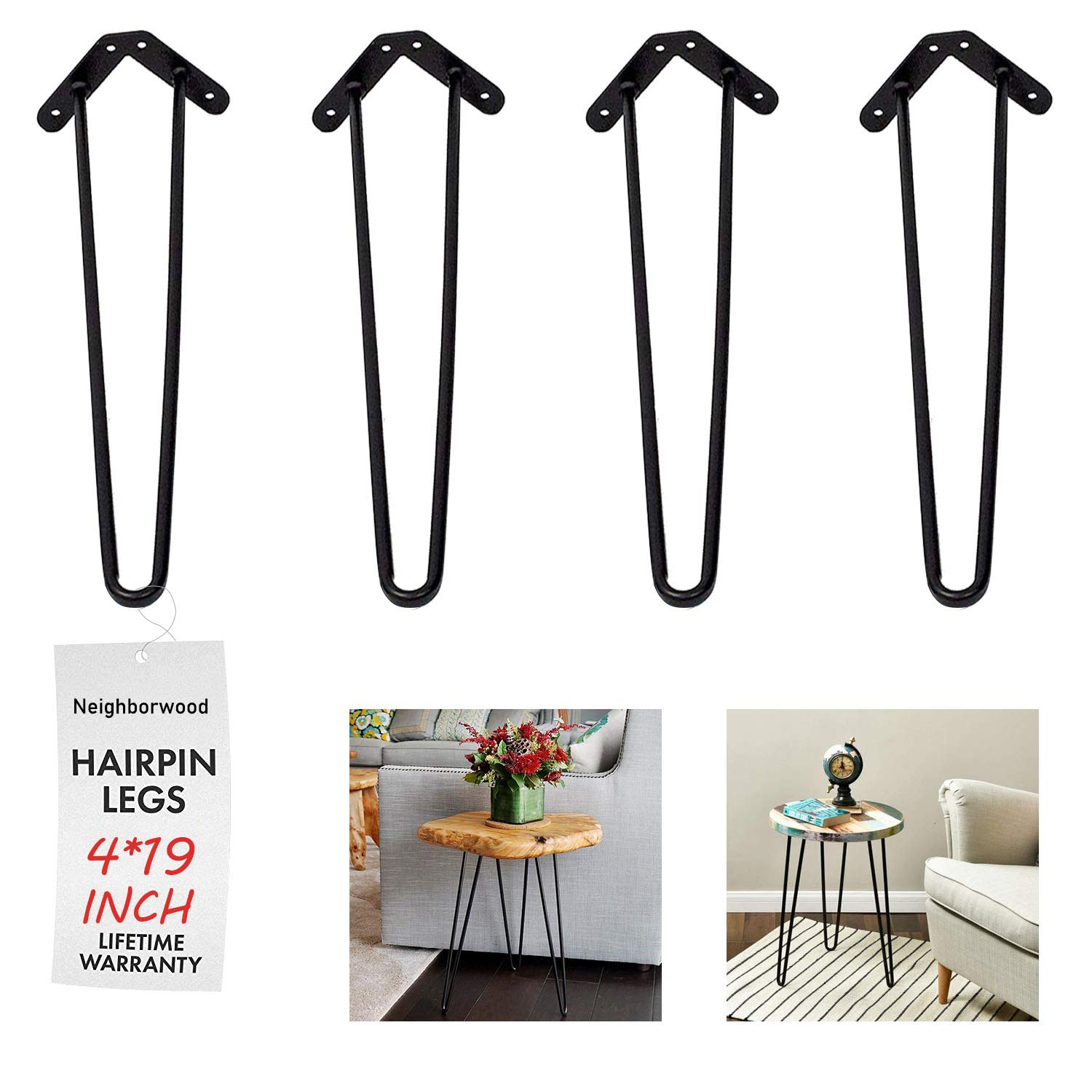 NBWOOD 19'' Heavy Duty Hairpin Coffee Table Legs (Set of 4), 2/5'' Thick, Black