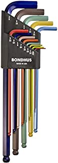 product image for Bondhus 69637 Ball End L-Wrench Set w/ColorGuard Finish w/Extra Long Arm, 13 PC