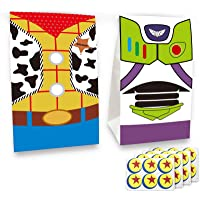 24 pcs Toy Inspired Story Birthday Party Supplies Favor Goodie Gift Bags, Including Woody and Buzz Lightyear 2 Patterns…