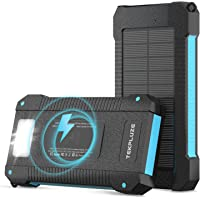 Solar Power Bank 30000 mAh, Wireless Portable Charger Solar Panel External Battery Type-C 5V Dual USB with LED…
