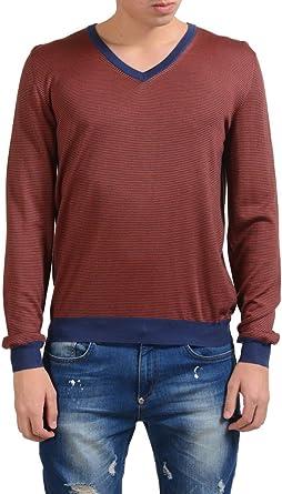 Malo Mens Striped Cashmere Silk V-Neck Pullover Light Sweater US M IT 50