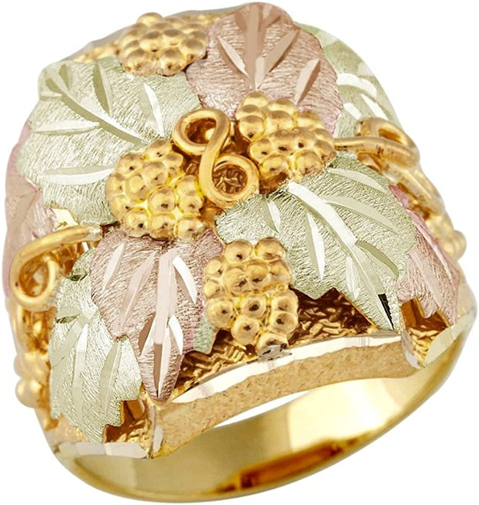 Black Hills 10K Gold Grape Clusters on Vine and Leaves Ring Size 4-10