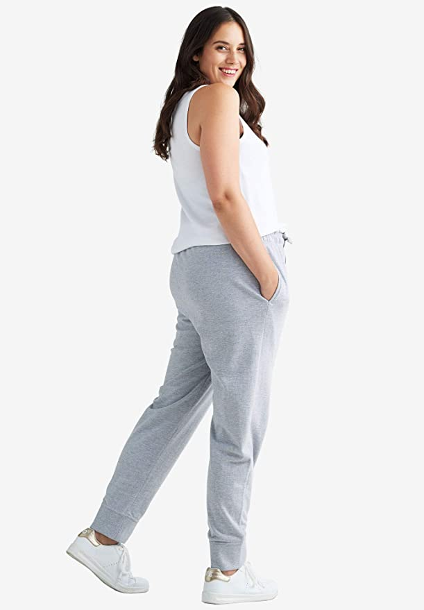 Ellos Womens Plus Size French Terry Drawstring Sweatpants