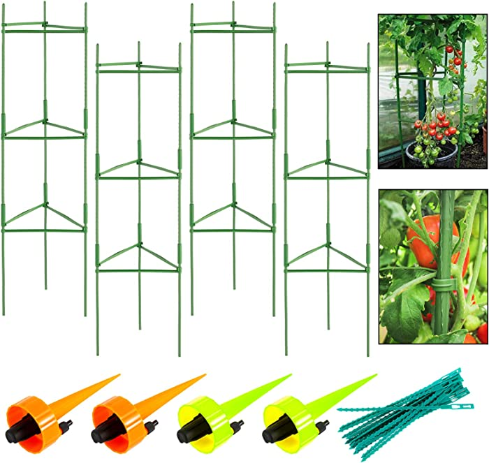 SIMPLY + Garden Plant Support Tomato Cage-4ft 4-Pack, Vegetable Trellis for Climbing Plants, Plant Trellis Kits Plant Stakes & Support with 4 Watering Drip Devices & 50 Cable Ties