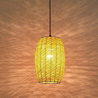 Kronleuchter, Europäischen Stil LED Braun / Orange / Gelb Single Head  Rattan Deckenleuchte Vintage Holz
