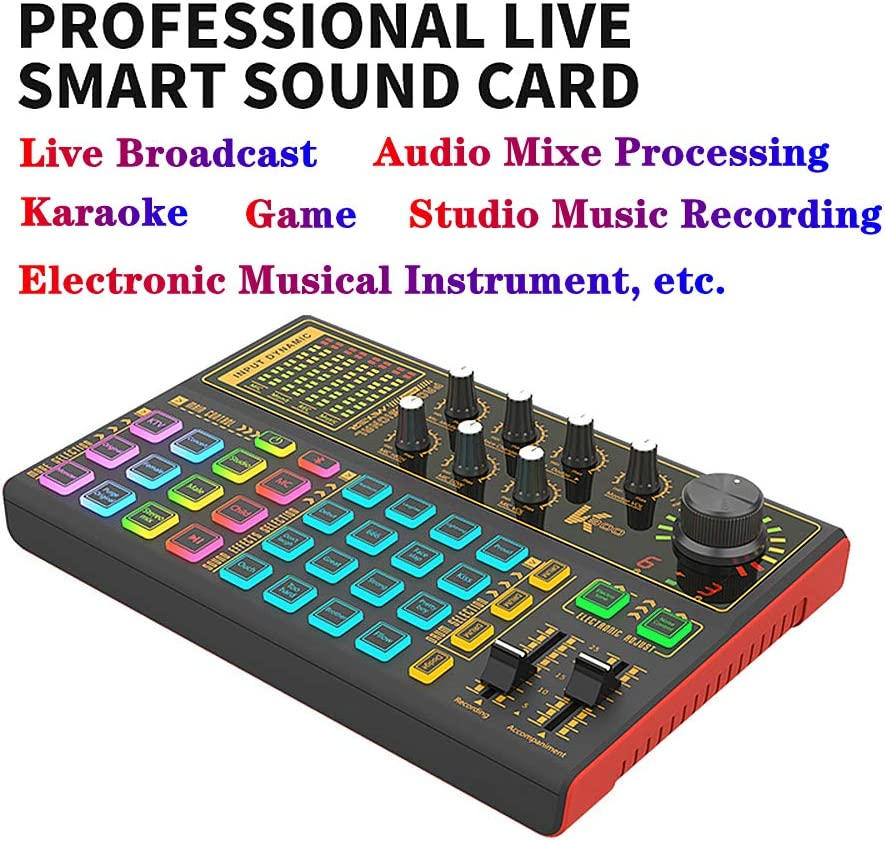 Live Sound Card Voice Changer with Multiple Sound Effects and LED ...