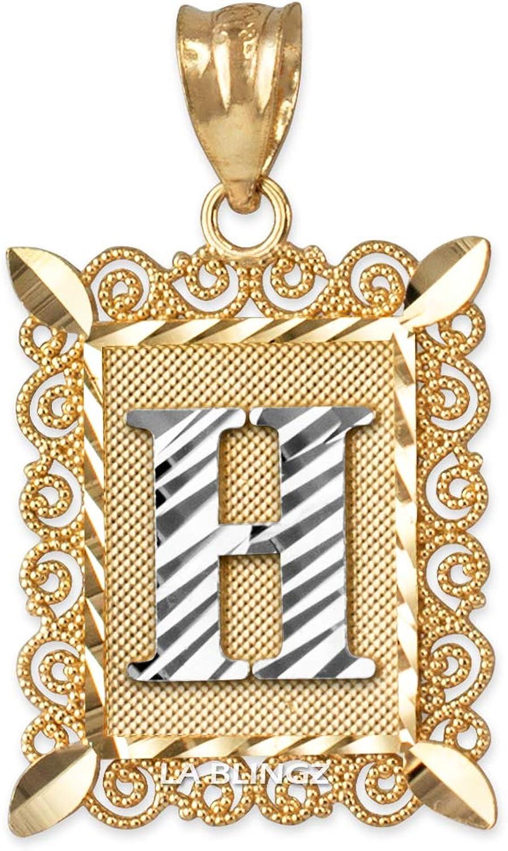 LA BLINGZ 14K Yellow Gold Filigree Alphabet Initial Letter H DC Charm Necklace