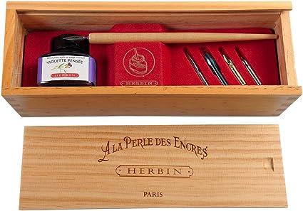 J.Herbin 27077T - Conjunto de plumas de regalo en caja de madera, La Perle des Encres: Amazon.es: Oficina y papelería