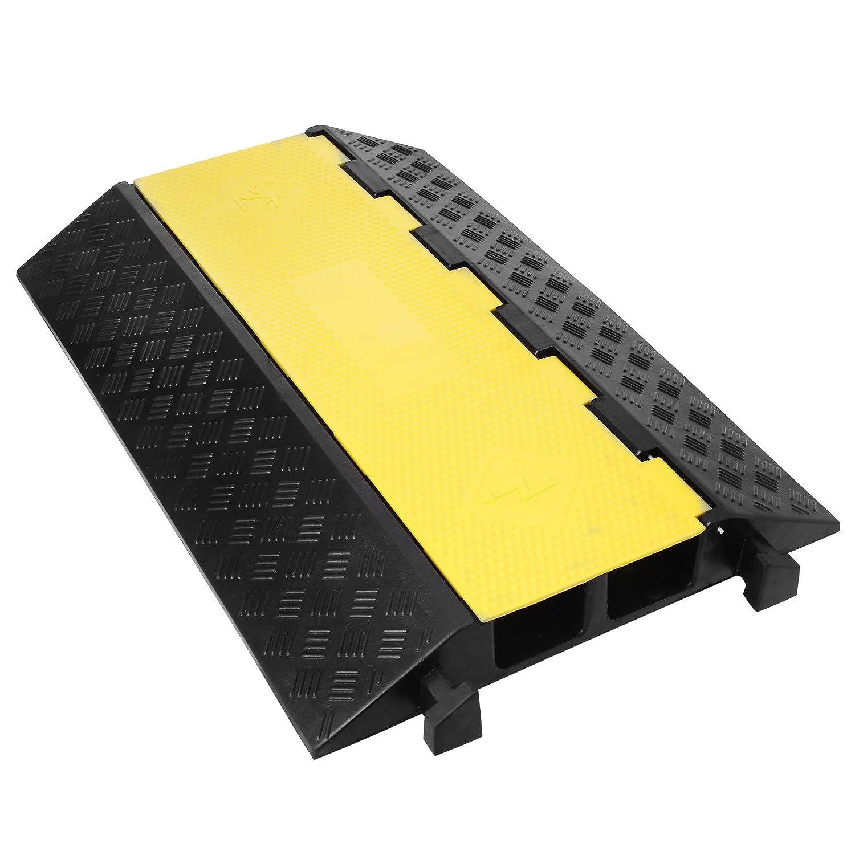 Ukiki Protecteurs De C/âble En Caoutchouc Modulaire 30000KG Protecteur De Tuyau De C/âble Rampe Protection De Plancher Pour C/âble Ext/érieur 2 Canaux 1 Pi/èce