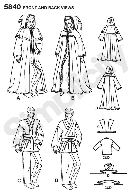 Simplicity 5840 A - Patrones de costura para disfraces /(hombres ...