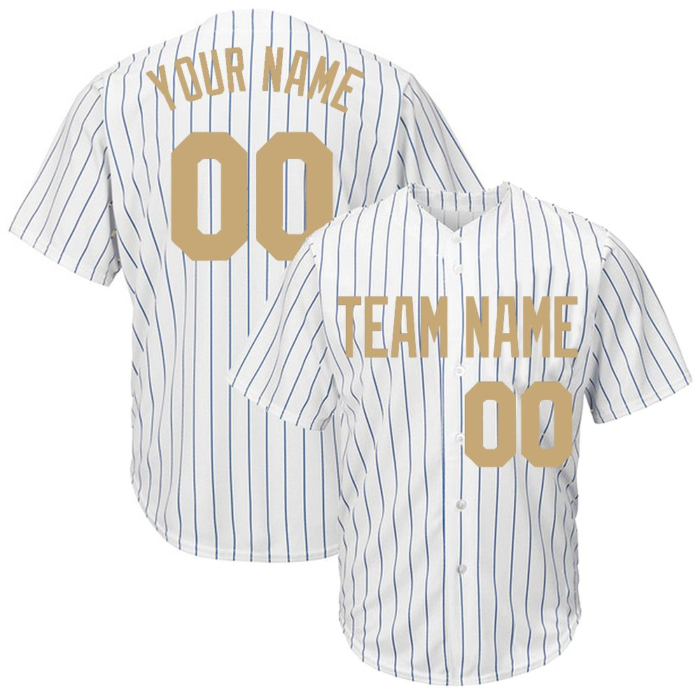 DEHUI Customized Women's White Pinstriped Baseball Jersey with Sewn Team Name Player Name and Numbers,Gold Size S by DEHUI